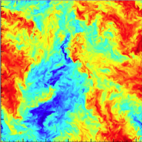 Figure 2: Color contours representing  velocity on a 2D slice through the 4D turbulent dataset available at JHTDB.