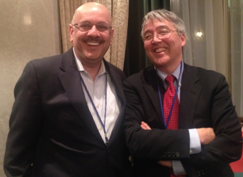 Current and former NSF CISE ADs at the CRA Board Meeting. On the left, Farnam Jahanian (immediate past CISE AD and 2015 Awardee of the CRA Distinguished Service Award); On the right, Jim Kurose (current CISE AD and former CRA Board member).